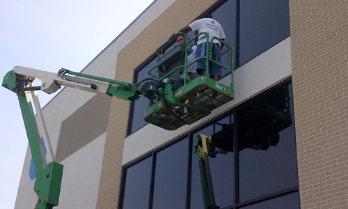 Commercial Window Cleaning. We can handle buildings up to 4 stories from the ground.